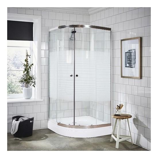 Durul Duşakabin 80 x 80 cm Oval Çizgili Desen Duş Teknesiz
