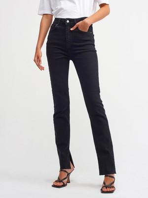 Dilvin 4487 Yanı Yırtmaçlı Likralı Siyah Pantolon-Siyah