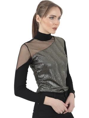 Moda Gusto Asimetrik Tül Detaylı Gümüş Bluz