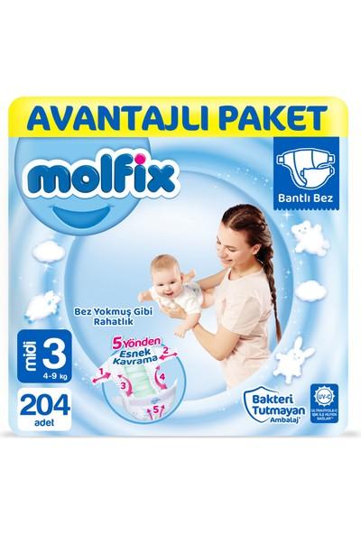 Molfix Bebek Bezi Avantajlı Paket Midi 3 Numara 204 Adet