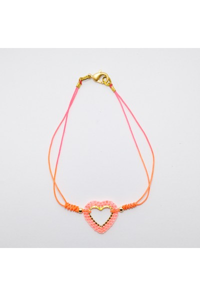 Nimiel Saklı Kalp Halhal Neon Turuncu