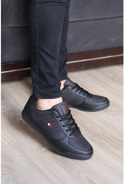 Jagulep Erkek Siyah Cilt Deri Spor Ayakkabı