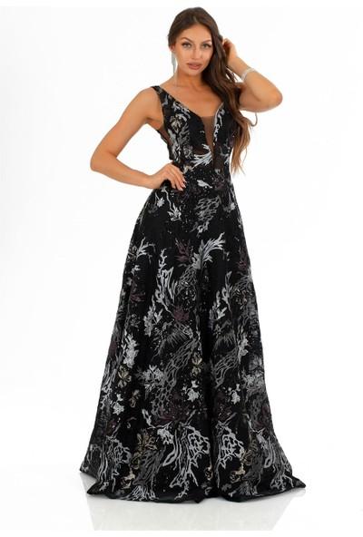 Carmen Siyah Payet Askılı Prenses Abiye Elbise