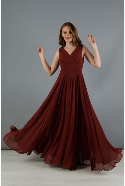 Carmen Kiremit Şifon V Yaka Uzun Abiye Elbise