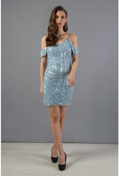 Carmen Mavi Kolu Bantlı Payet Kısa Abiye Elbise