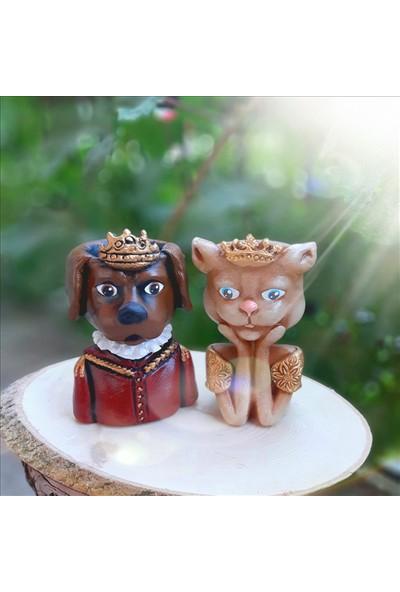 Bulut Taçlı Kedi Köpek Çift Saksı Sarı Kırmızı