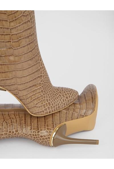 İLVİ Blasia Kroko Kadın Taba Topuklu Çizme