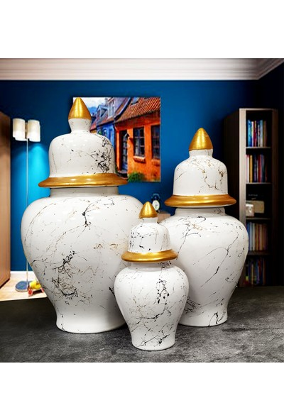 Otogar Çini 3'lü Mermer Desenli Seramik Salon Konsol Şah Küp Takımıseti Beyaz -Yaldızlı