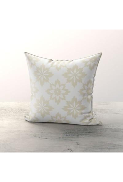 Tropik Home Flower Beyaz Kırlent Kılıfı