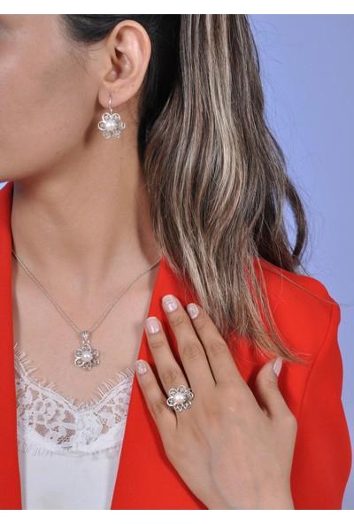 Midyat Gümüş Dünyası Kadın Inci Taşlı Telkari Gümüş Kadın Üçlü Takım 2020722