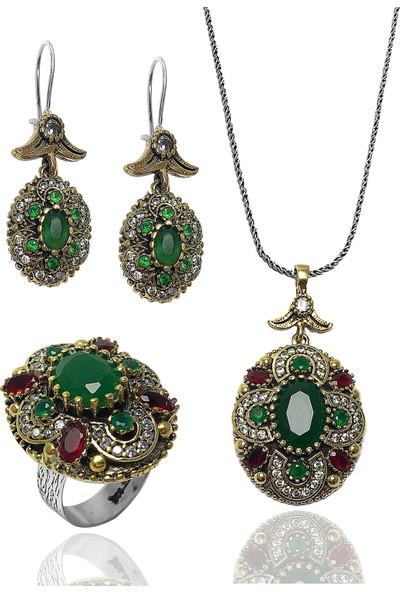Midyat Gümüş Dünyası Kadın Otantik Gümüş Üçlü Set Yeşil Kök Zümrüt Taşlı MGD2020855