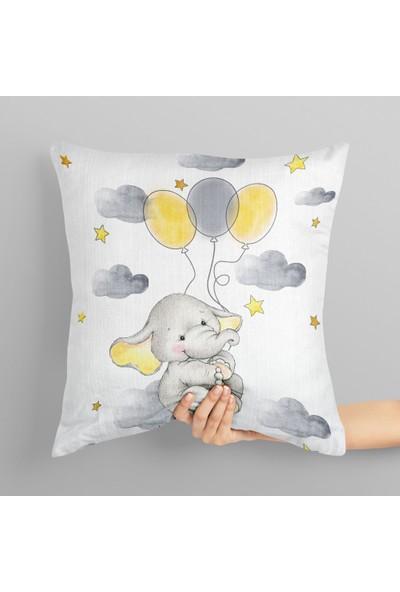 Balonlu Uçan Fil Çocuk Kırlent Kılıfı