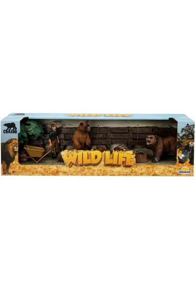 Crazoo Wild Life Vahşi Hayvanlar Çiftlik Seti Ayı Ailesi