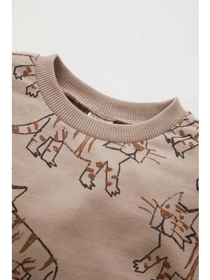 DeFacto Erkek Bebek Regular Fit Bisiklet Yaka Kaplan Desenli Sweatshirt W2655A221WN