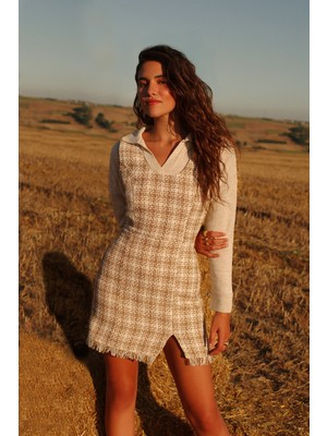 Quzu Tüvit Mini Elbise Bej