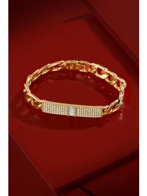 FRNCH Parlak Zirkon Taşlı Motifli Altın Renk Kadın Bileklik FRJ11193-1293-G