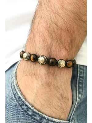 FRNCH Kaplan Gözü ve Zirkon Taşlı Ayarlanabilir Gold Renk Handmade Erkek Bileklik FRJ11210-1310-G
