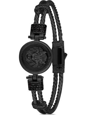 FRNCH Aslan Figürlü Zirkon Taşlı Mat Siyah Renk Erkek Bileklik FRJ11213-1313-B2