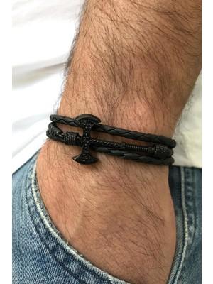 FRNCH Balta Figürlü Zirkon Taşlı Gerçek Derili Mat Siyah Renkli Erkek Bileklik FRJ11215-1315-B2