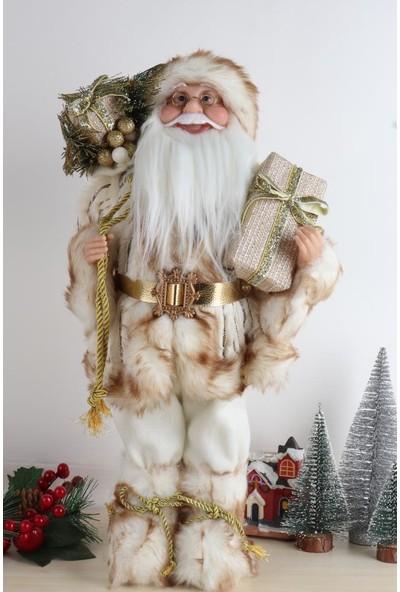 Beysüs Noel Baba Beyaz Gold Hediye Torbalı 50 cm BNB05