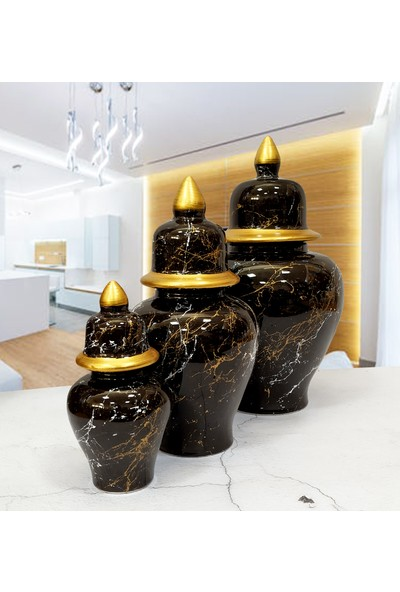 Otogar Çini 3'lü Mermer Desenli Seramik Salon Konsol Şah Küp Takımıseti Siyah Renk-Yaldız Seçenekli
