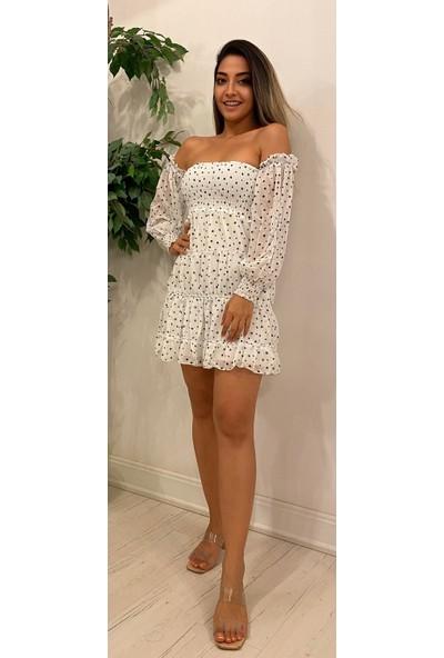 Sevenday Fashion Sevenday Kadın Beyaz Şifon Puantiyeli Içi Astarlı Kısa Elbise