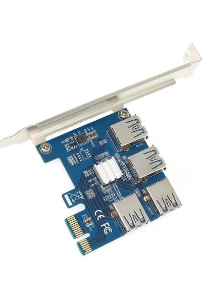 Brs Pci-E Express 1x 1 To 4 USB 3.0 Ekran Kartı Riser Çoklayıcı