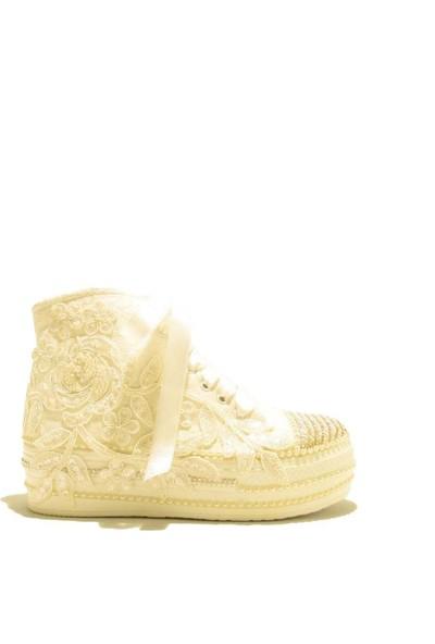 Meshure MSRE055 Sedef Kadın Converse Stle Gelinlik Ayakkabısı