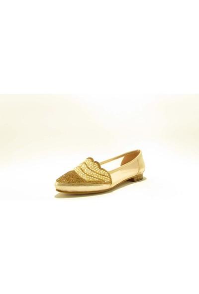 Meshure MSRE102 Altın Kadın Sivri Burunlu Transparan Detaylı Taşlı Abiyelik Babet Ayakkabı