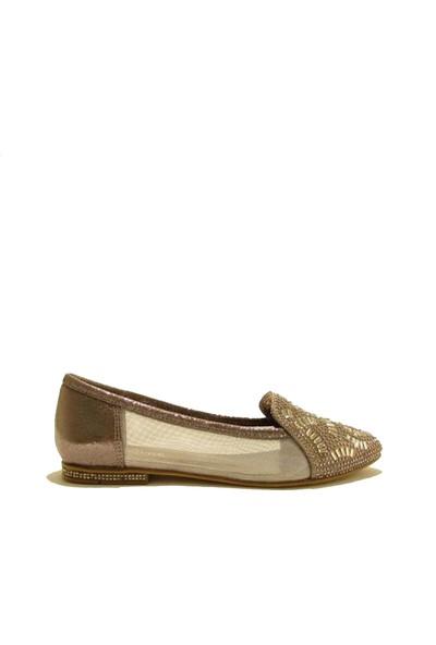 Meshure MSRE-0101 Platın Kadın Taşlı Transparan Detaylı Sivri Burunlu Abiye Babet Ayakkabı