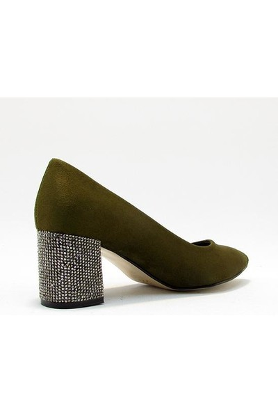 Meshure MSRE-585 Haki Kadın Kısa Kalın Taşlı Topuklu Sivri Burunlu Ayakkabı