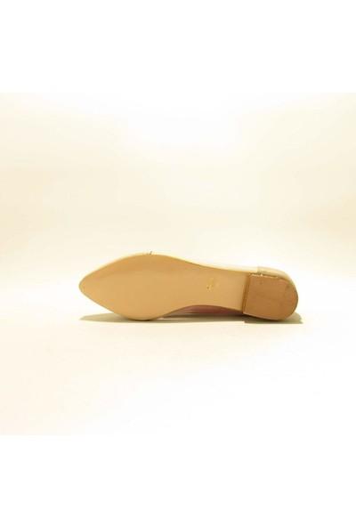 Meshure MSRE-010 Altın Kadın Taşlı Transparan Detaylı Babet Ayakkabı
