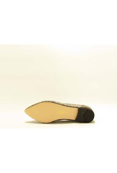Meshure MSRE1910 Platın Kadın Taşlı Transparan Abiyelik Günlük Babet Ayakkabı