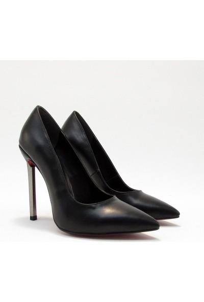 Meshure MSRE3061 Siyah Kadın Yüksek Topuklu Sivri Burunlu Stiletto