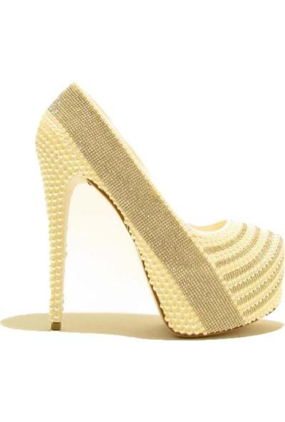 Meshure MSRE018 Sedef Kadın Çift Platformlu Inci ve Taş Kaplama Abiyelik Gelinlik Ayakkabı