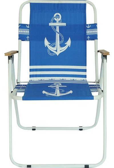 Byeren Ağaç Kollu Sandalye Çapa Desenli Mavi
