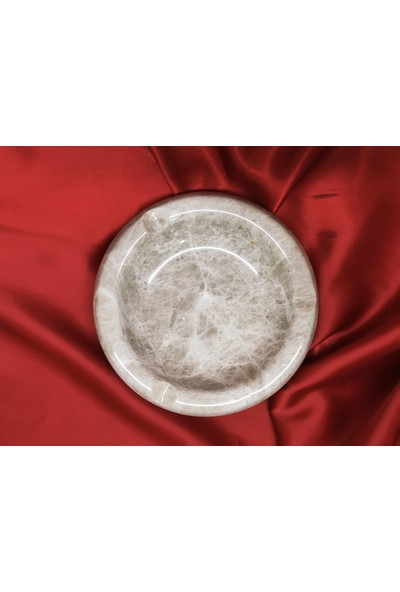 Pergamon 2'li Set Bej Mermer Kare ve Yuvarlak Küllük Kül Tablası