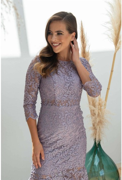Carmen Lila Dantel Yarım Kollu Söz Abiye Elbise
