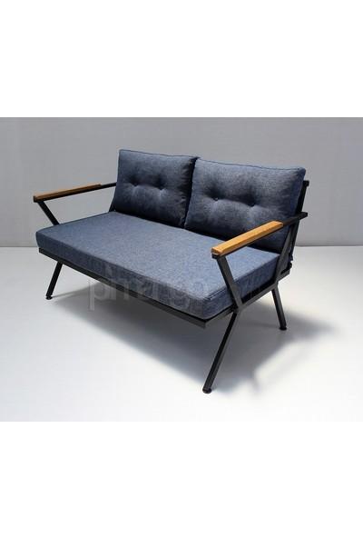 Pimango Demonte Metal Bahçe Mobilyası Çay Seti Mavi 2 + 1 + 1