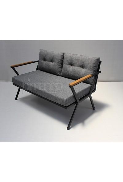 Pimango Demonte Metal Bahçe Mobilyası Çay Seti Antrasit Gri 2 +1 +1