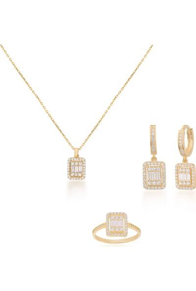 Coşar Silver Zirkon Taşlı Pırlanta Montür Altın Kaplama Baget Taşlı Gümüş Set