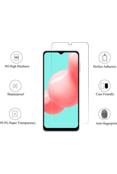 Case 4U Samsung Galaxy M12 Maxi Glass Temperli Cam Ekran Koruyucu Şeffaf