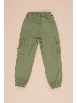 FullaModa Çocuk Kargo Cepli Paçası Lastikli Pantolon