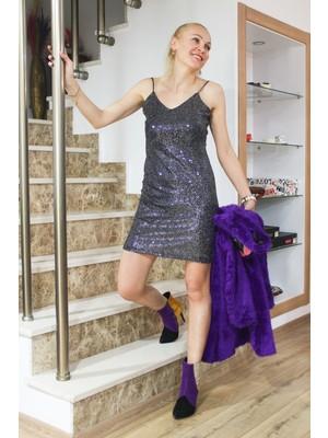 By Derya Gümüş Köksal Pul Payet Ikili Ip Askı Detaylı Mini Elbise