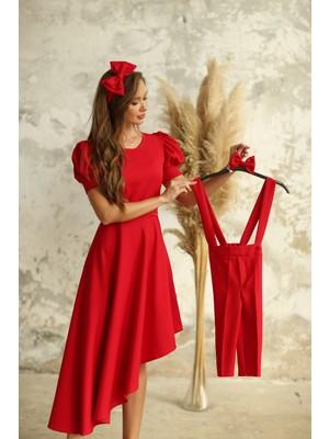 Küçüğüm Butik Kırmızı Salopet ve Papyon