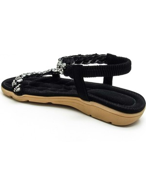 Guja Kadın Siyah Lastikli Günlük Sandalet 21Y120-12 - Guja - Siyah - 36