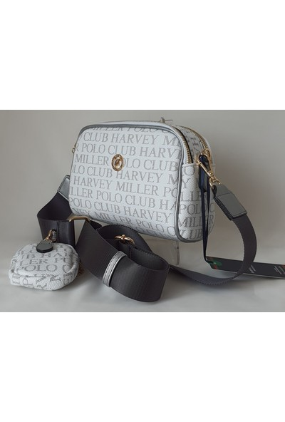 Harvey Miller Polo Club Beyaz - Gümüş Renk Yazılı Kadın Omuz Çantası - DS4813