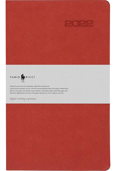 Fabio Ricci 1032 - 2022 Haftalık Çizgili Ajanda 13 x 21 cm Kırmızı