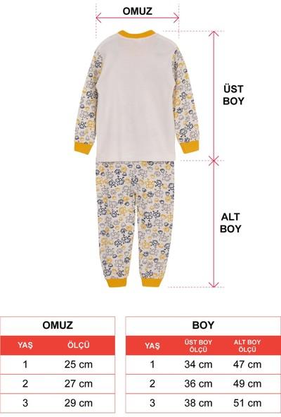 Zepkids Erkek Çocuk Pijama Takımı Maymun Baskılı 1-3 Yaş