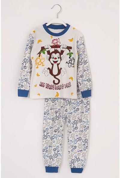 Zepkids Erkek Çocuk Pijama Takımı Maymun Baskılı 1-3 Yaş Indigo